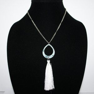 Long silver cream tassel necklace 24""